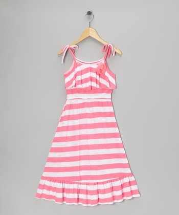 Pink Stripe Ruffle Maxi Dress