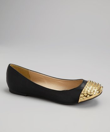 Black & Gold Spike Cap Toe Betty Flats