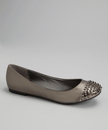 Pewter & Silver Spike Cap Toe Betty Flats