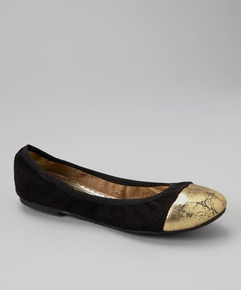Black Toe-Cap Deedra Flats
