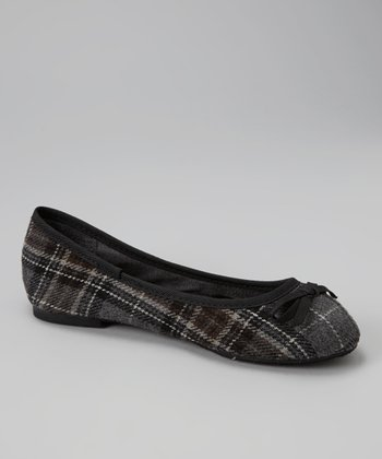 Black Plaid Flat