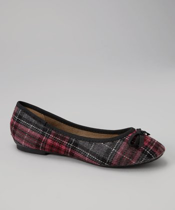 Fuchsia Plaid Flats