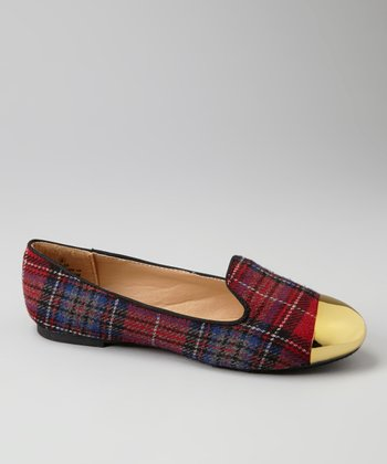 Red Plaid Metallic Cap Toe Loafers
