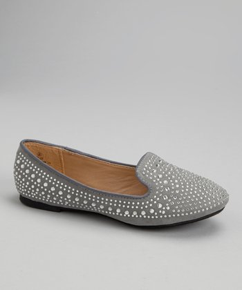 Gray Embellished Loafers