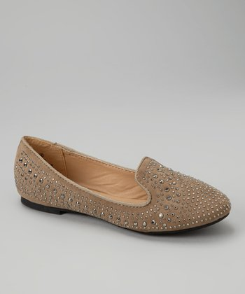 Taupe Embellished Loafers