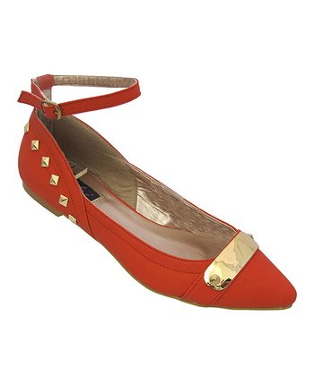 Red Ankle Strap Embellished Layra Flat