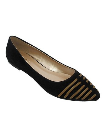 Black Split Stripe Layra Flat