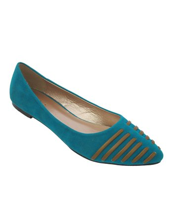 Teal Split Stripe Layra Flat