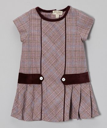 Purple Plaid Pleated Cap-Sleeve Dress - Infant, Toddler & Girls