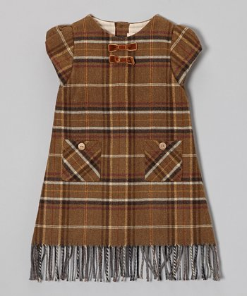Brown Plaid Fringe Puff-Sleeve Dress - Infant, Toddler & Girls