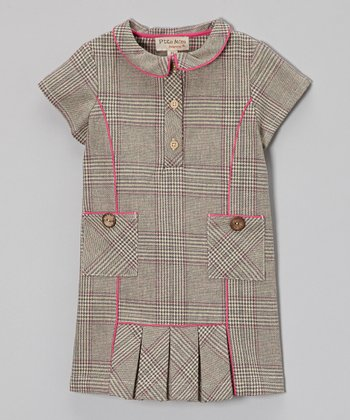 Beige & Pink Plaid Wool-Blend Dress - Toddler & Girls
