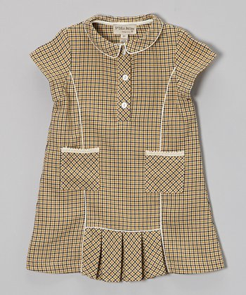 Beige & Yellow Plaid Wool-Blend Dress - Toddler & Girls