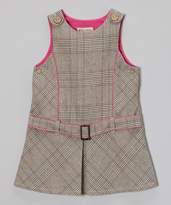Gray Plaid Belted Wool-Blend Jumper - Toddler & Girls