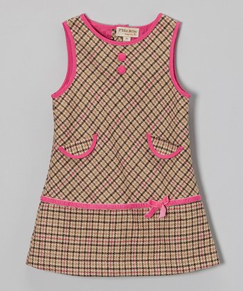 Beige & Pink Plaid Wool-Blend Shift Dress - Toddler & Girls
