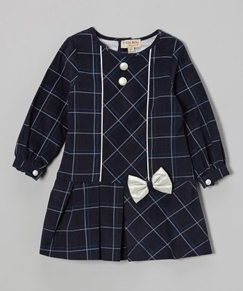 Navy Windowpane Bow Drop-Waist Dress - Toddler & Girls