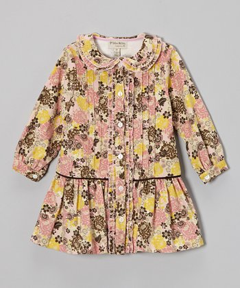 Pink & Yellow Floral Button-Up Drop-Waist Dress - Toddler & Girls