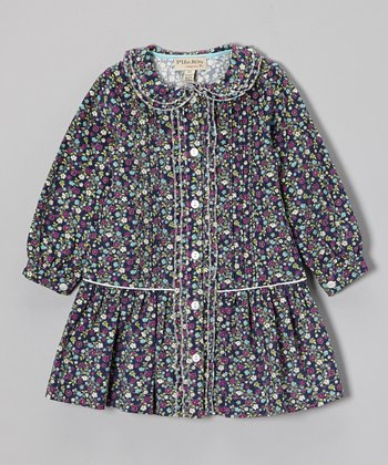 Blue Floral Button-Up Drop-Waist Dress - Toddler & Girls