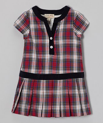 Red & Blue Plaid Drop-Waist Dress - Toddler & Girls