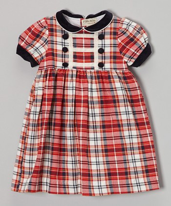 Red & Navy Plaid Collar Puff-Sleeve Dress - Infant & Toddler