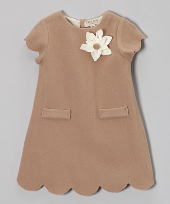 Brown Feutrine Cap-Sleeve Dress - Girls