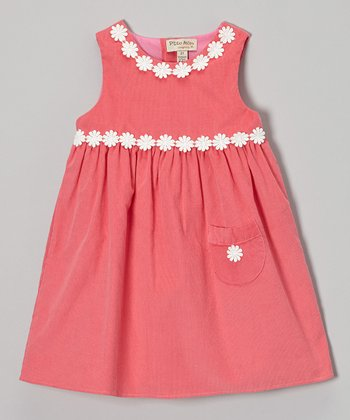 Pink Corduroy Daisy Swing Dress - Toddler & Girls
