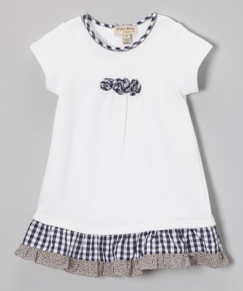 White & Navy Ruffle Swing Dress - Toddler & Girls