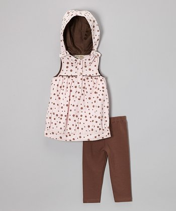 Pink Polka Dot Hooded Dress & Brown Leggings - Toddler & Girls