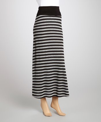 Heather & Black Stripe Fold-Over Maxi Skirt - Women