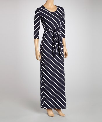 Navy & White Stripe Maxi Dress & Sash - Women