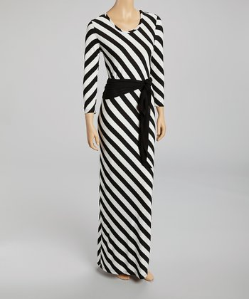 White & Black Stripe Maxi Dress & Sash - Women