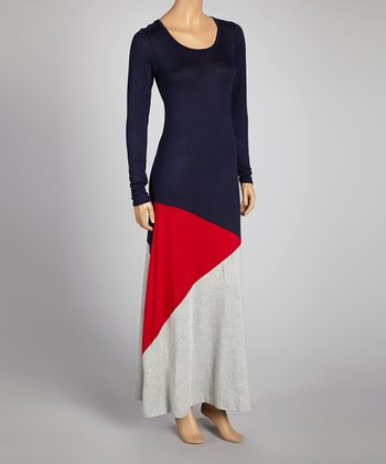 Navy & Red Color Block Maxi Dress - Women