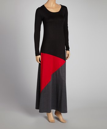 Black & Red Color Block Maxi Dress - Women