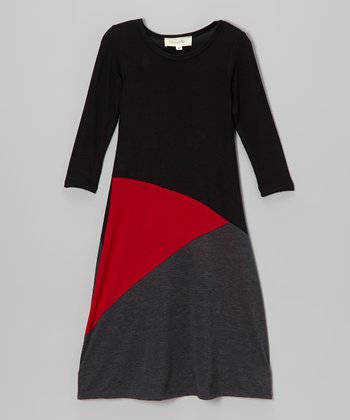 Black & Red Color Block Maxi Dress - Toddler & Girls