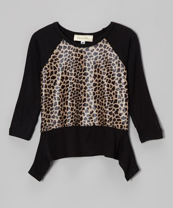 Black & Tan Leopard Raglan Sidetail Top - Toddler & Girls
