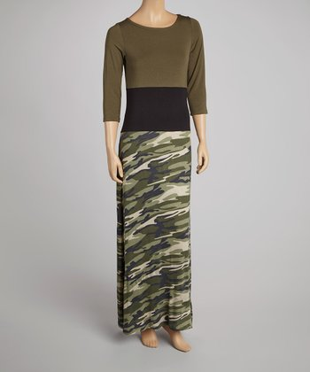 Olive & Camo Color Block Maxi Dress - Women