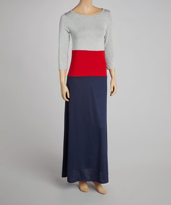 Red & Navy Color Block Maxi Dress - Women