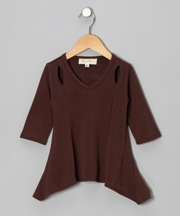 Brown Long-Sleeve Sidetail Tunic - Toddler & Girls