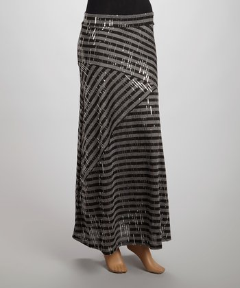 Gray Stripe Sequin Maxi Skirt - Women