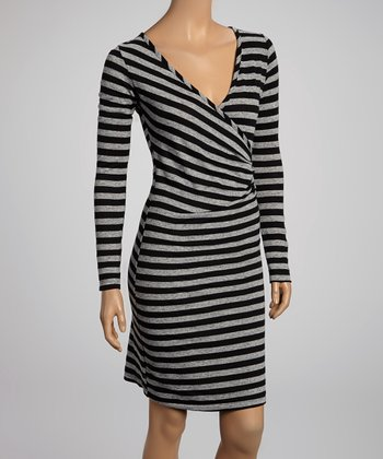 Gray & Black Stripe Surplice Dress - Women