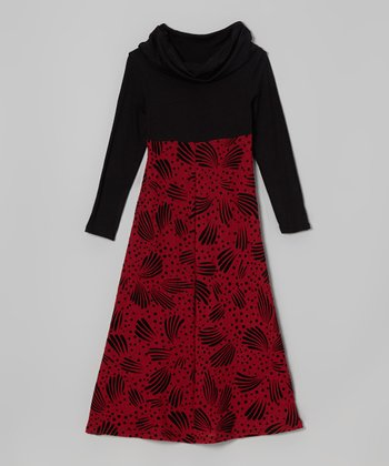 Red & Black Maxi Dress - Toddler & Girls