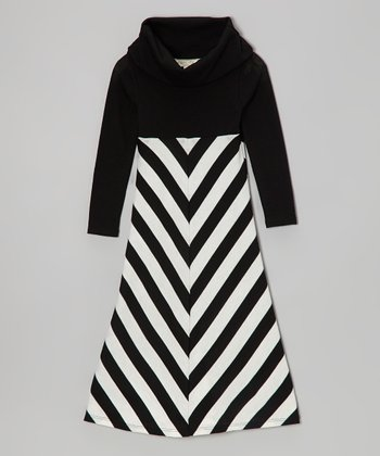 Black & White Chevron Maxi Dress - Toddler & Girls