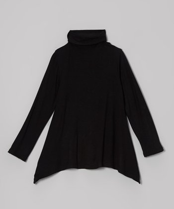 Black Sidetail Turtleneck - Toddler & Girls