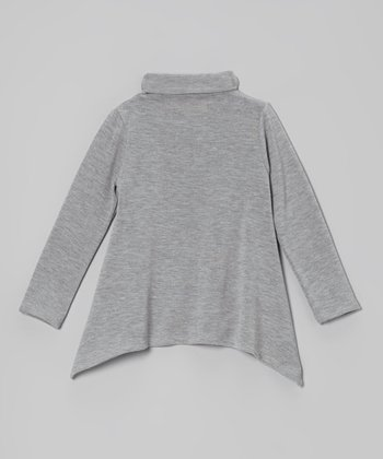 Heather Gray Sidetail Turtleneck - Toddler & Girls