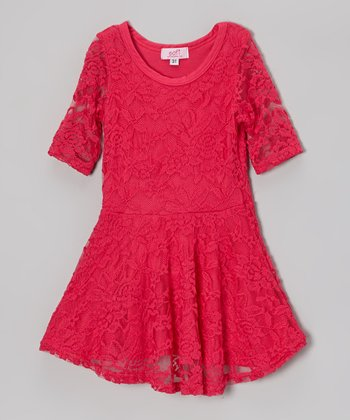 Fuchsia Lace Dress - Toddler & Girls