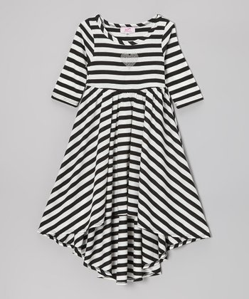 Black & White Stripe Hi-Low Dress - Toddler & Girls