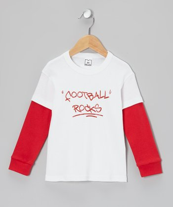 White & Red 'Football Rocks' Layered Tee - Infant & Toddler