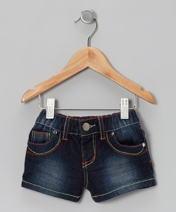 Dark Wash Stone Denim Shorts - Toddler & Girls