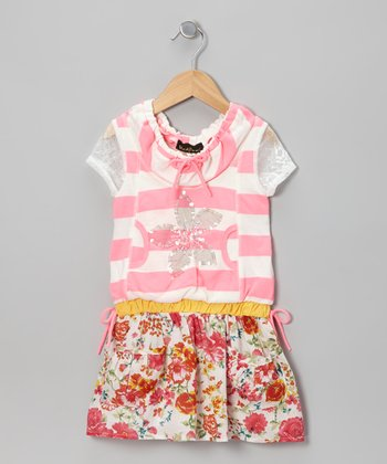 Neon Pink Stripe Flower Drop-Waist Dress - Girls