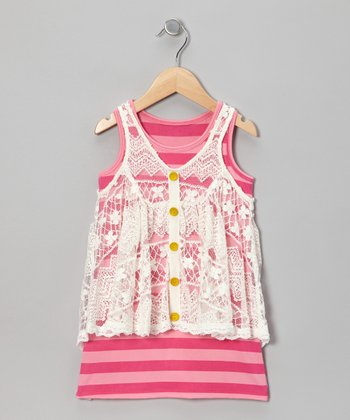 Ivory & Pink Stripe Layered Dress - Girls
