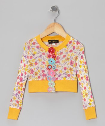 Yellow Floral Cardigan - Toddler & Girls